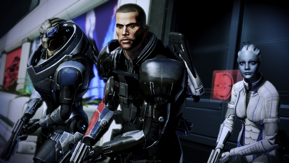 The Mass Effect 3 Dream Team: Garrus and Liara, two teammates from the first game, as Shepard's trusty sidekicks.