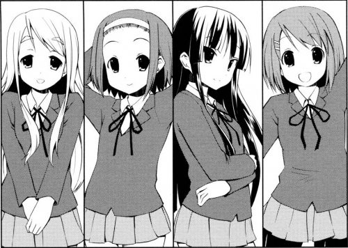 The K-ON cast: Tsumugi, Ritsu, Mio, and Yui