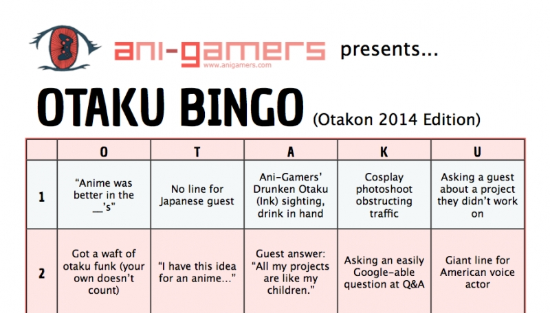 otakon 2014 schedule and the return of otaku bingo  u2013    ani
