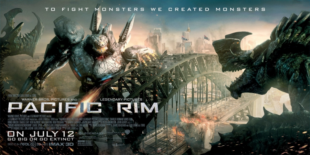 A Jaeger faces off against a Kaiju in this Pacific Rim poster