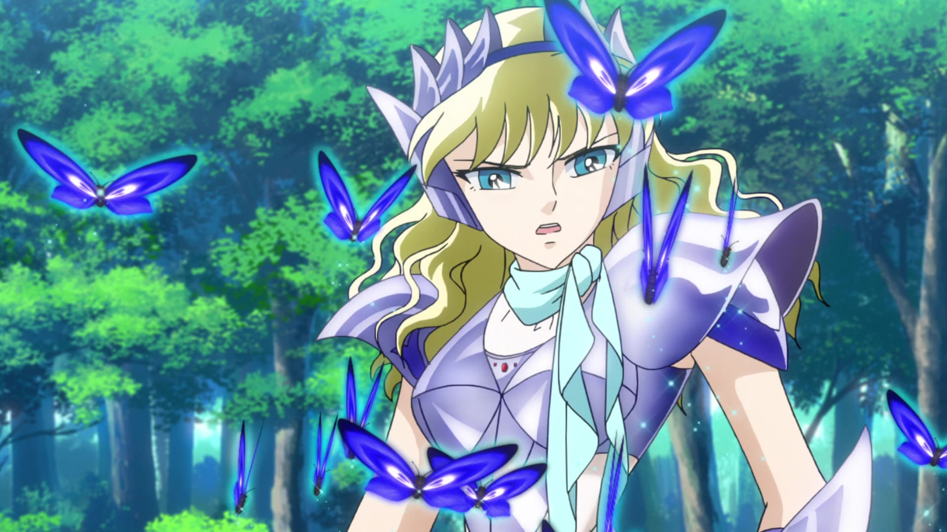 A blonde saintia in armor with blue butterflies around her.