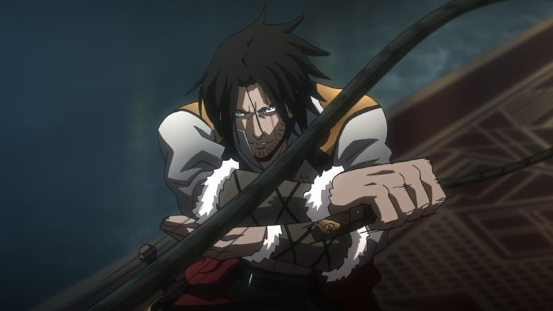 Trevor Belmont from the Netflix Castlevania series using his whip