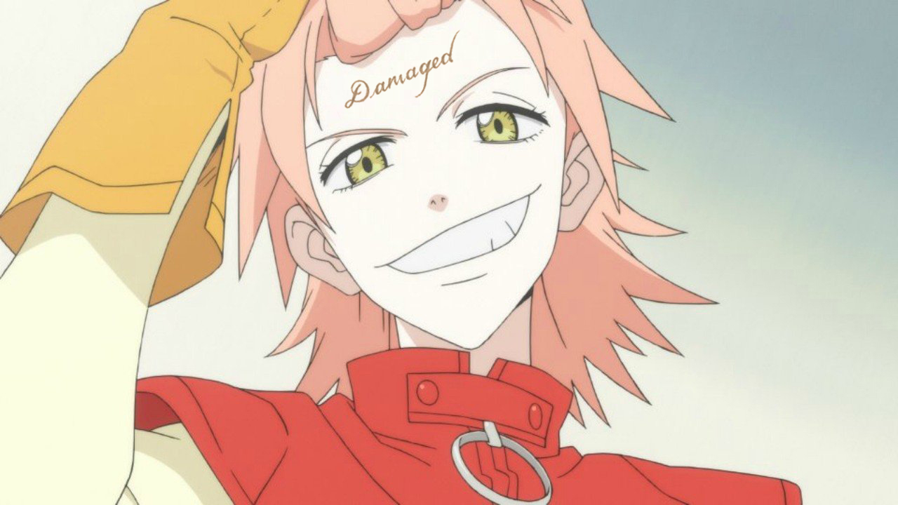 "Haruko from FLCL Progressive grinning and pulling up her hair, but her forehead has the Jared Leto Joker ""Damaged"" tattoo."
