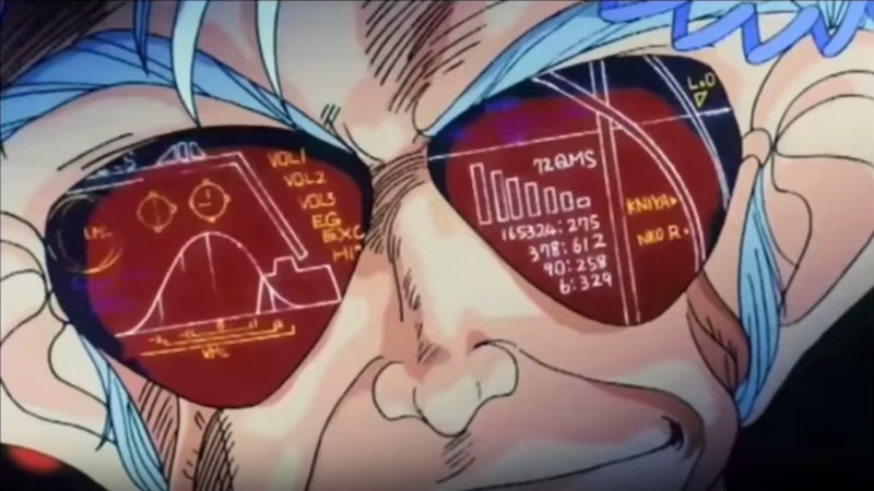 Mad scientist Dr. Wattsman from Dirty Pair: Project Eden wearing reflective glasses, smirking.