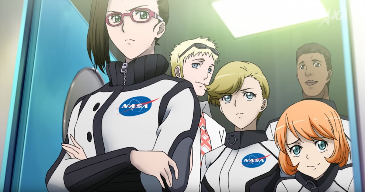 Anime characters wearing NASA spacesuits