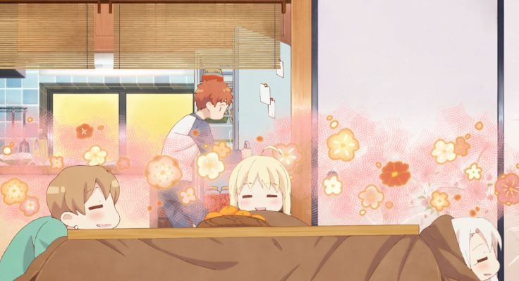 Taiga, Saber, and Illya sitting under the kotatsu, contented, while Shirou cooks in the kitchen.