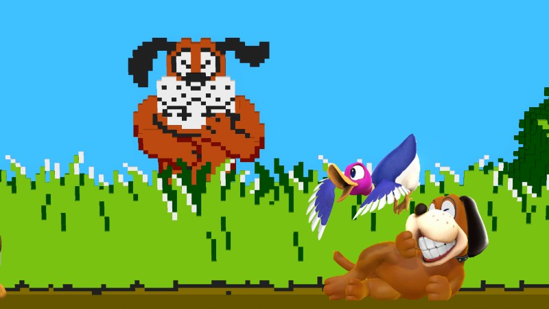 Duck Hunt dog and duck laughing and taunting in a stage patterned after the original 8-bit Duck Hunt game, with the original dog laughing in the background.