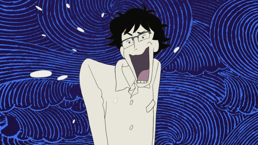 Young man with glasses from The Night Is Short, Walk on Girl, sweating with his mouth cartoonishly wide