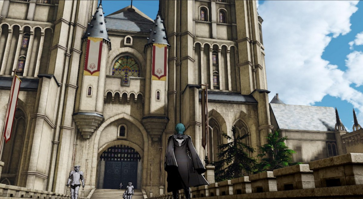 A Fire Emblem character with blue hair standing in front of a large stone castle.