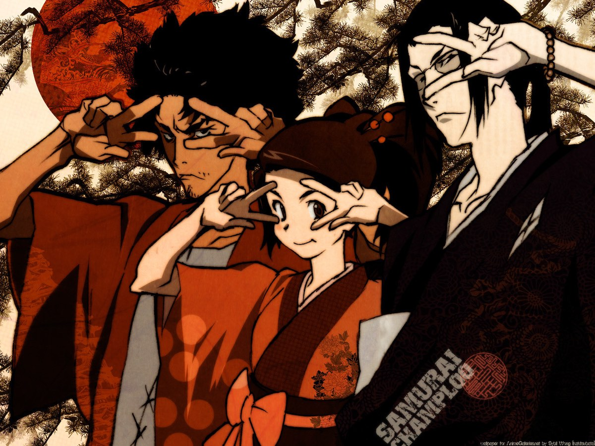Mugen, Fuu, and Jin from Samurai Champloo standing next to each other and holding up double peace signs. Mugen is a man with wild hair and stubble, Fuu is smiling and has her hair up in a bun, and Jin has glasses and a ponytail.