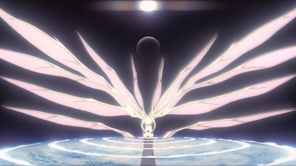 Scene from End of Evangelion: a white humanoid figure with giant wings hunched over the planet Earth, with the Sun visible distantly overhead.