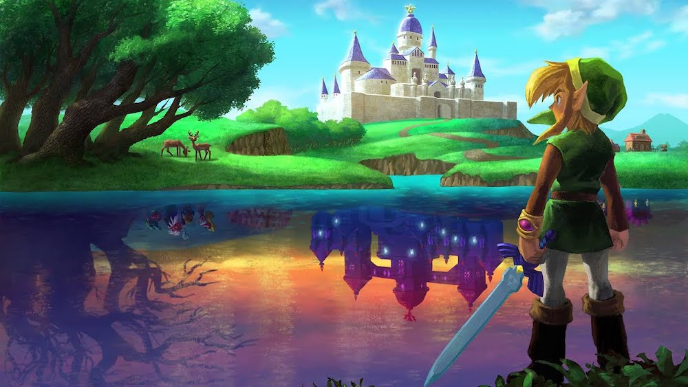 Link standing at the edge of a lake looking at Hyrule Castle. In the lake's reflection you can see a dark version of the castle.