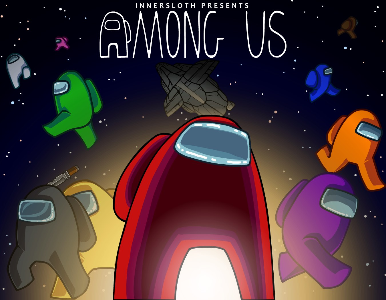 Among Us artwork. A group of bean-shaped astronaut characters standing in front of a space background.