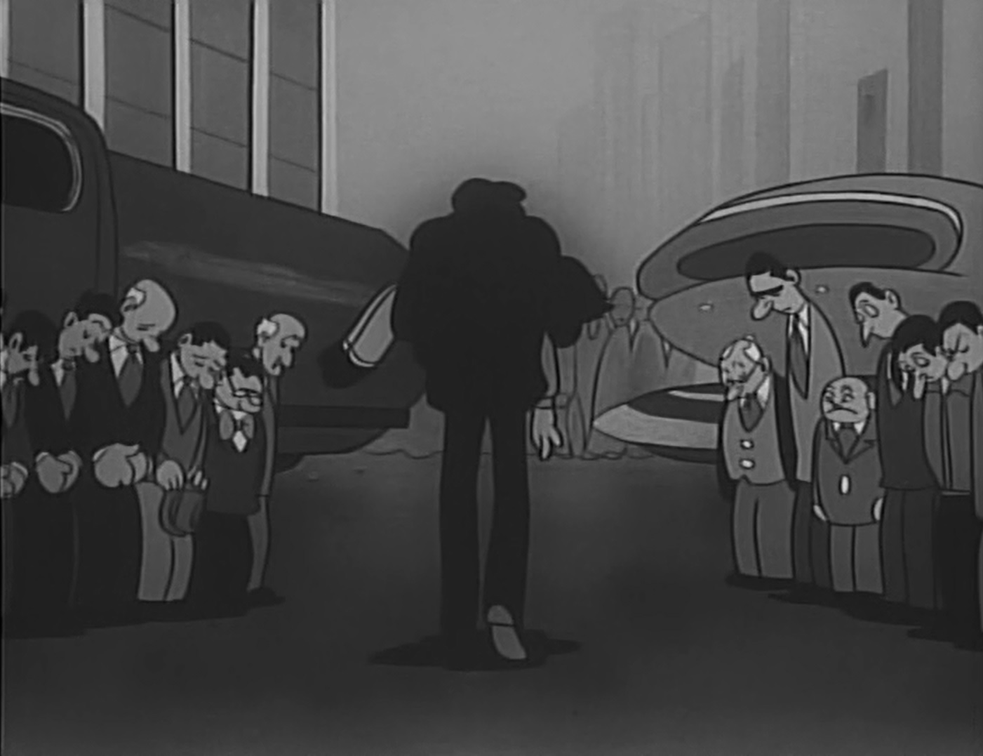 Shot from Astro Boy.Dr. Tenma carrying his son Tobio's dead body while men around him lower their heads.