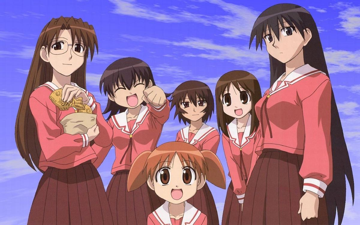The cast of Azumanga Daioh, all teenage girls (except for one 10-year-old) in school uniforms.