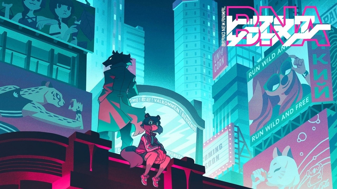 Neon-colored cityscape. The wolf-man Shiro stands on a ledge facing away, while tanuki girl Michiru sits on the ledge facing the camera, holding a basketball. A logo says BNA: Brand New Animal.
