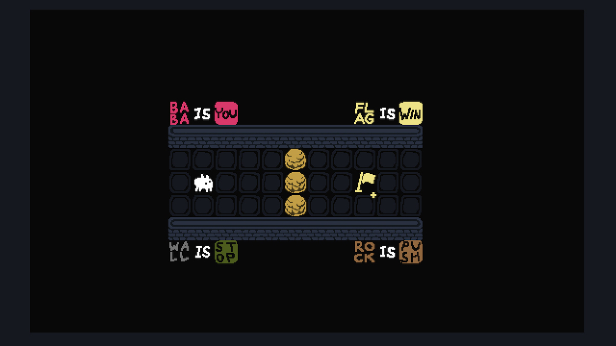 Screenshot from Baba Is You. Top-down 2-D level with the words Baba Is You, Flag Is Win, Wall Is Stop, and Rock Is Push scattered around.