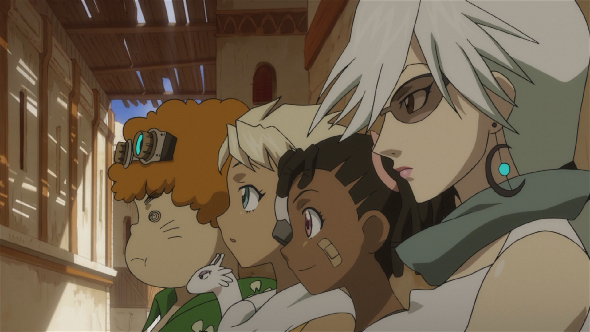 Four of Dan's allies: Bel, an overweight boy with goggles; Sela, a young athletic girl; Miyuki, a young girl with a band-aid on her face; and Haruka, a woman with white hair and sunglasses.