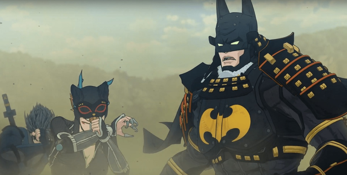 Batman in samurai armor next to Catwoman