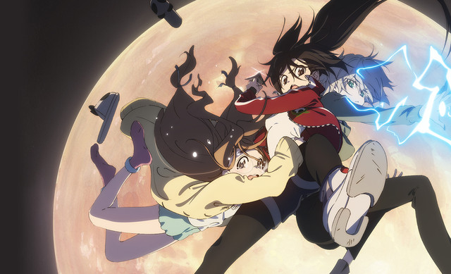 Rikka, Mia, and Melissa from Blackfox falling through the sky in front of a moon, while sparks come out of Mia's hands.