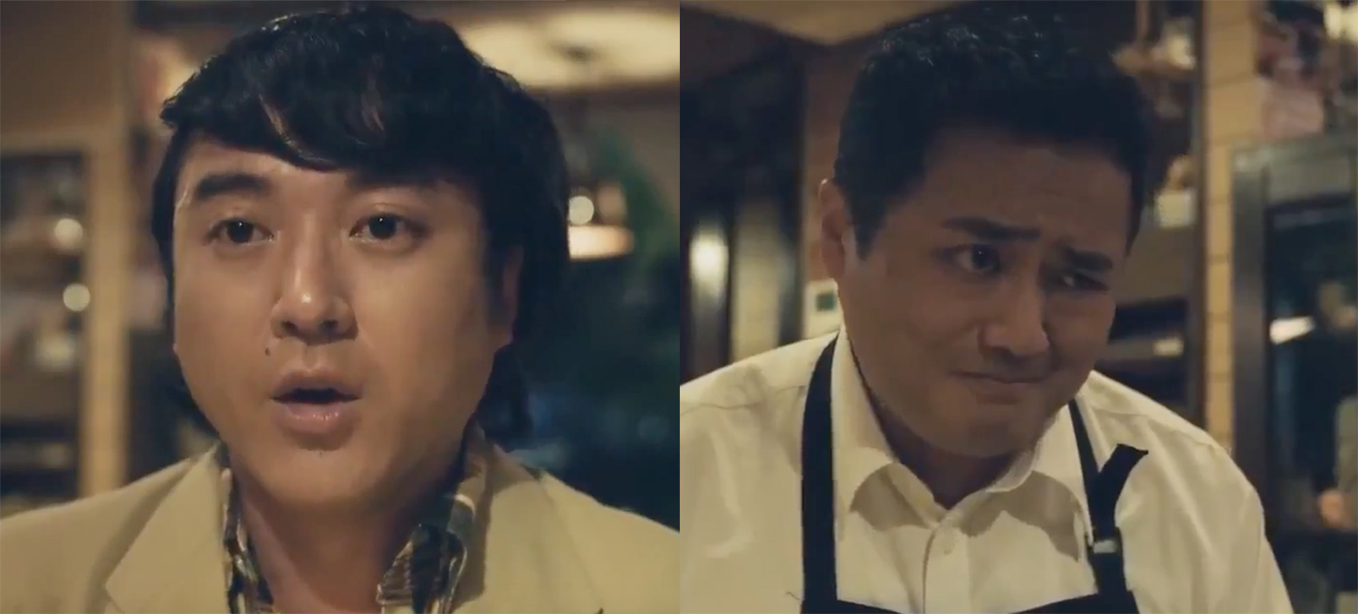 An actor playing Yamaga in one shot, and the real Yamaga playing a shop owner in another shot.