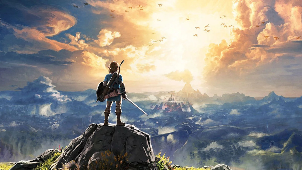 Link standing on a rock overlooking Hyrule in Breath of the Wild.