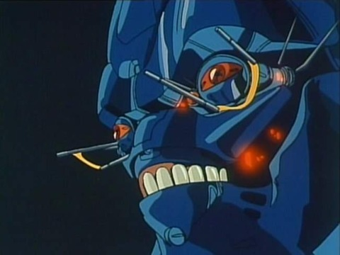 A Boomer from Bubblegum Crisis, a blue robotic skeletal face