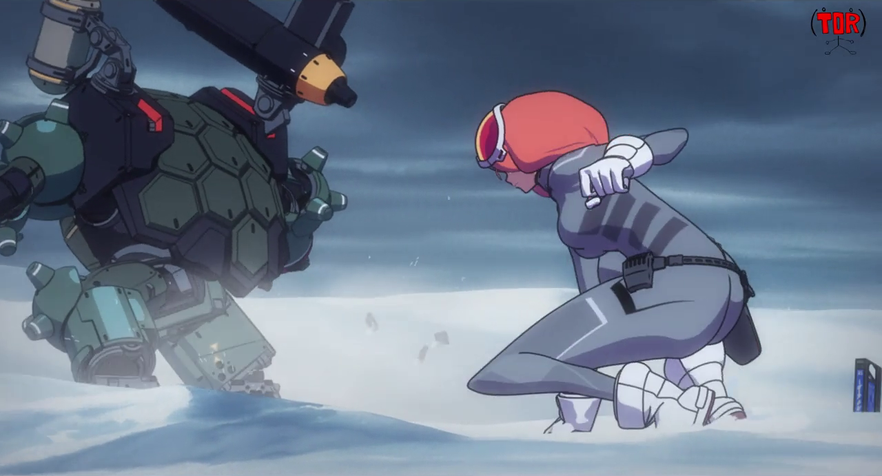 Yuri landing on the snow behind her robot Sandro, who looks like a turtle