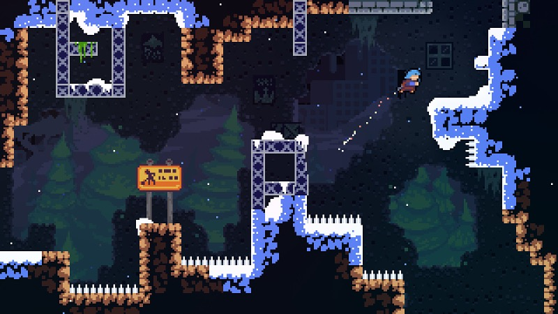 2-D platforming level with spike floors. A blue-haired character dashes up to a platform.