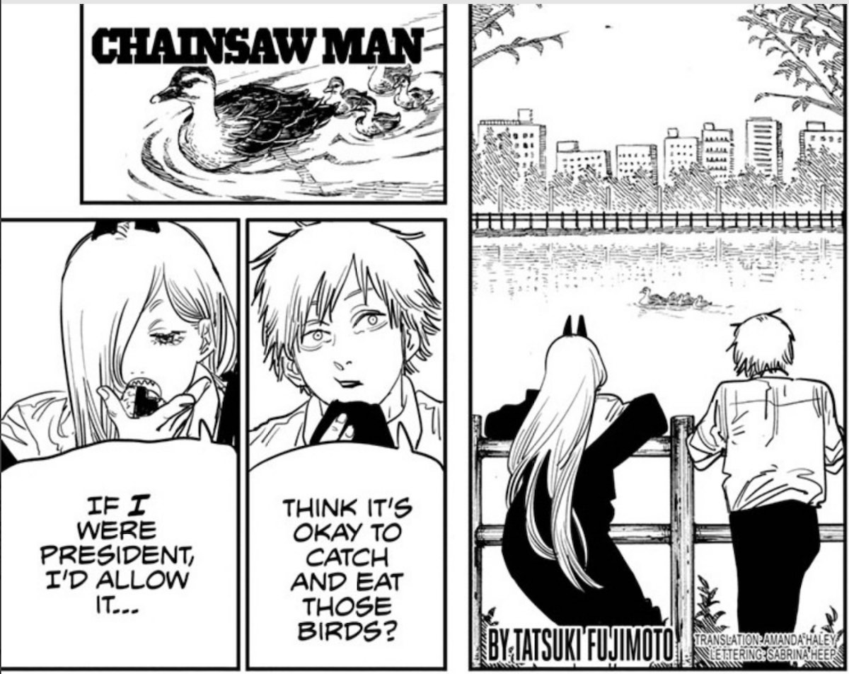 Denji and Power standing by a river and looking at ducks. Denji asks if he can eat the ducks and Power says if she was President she