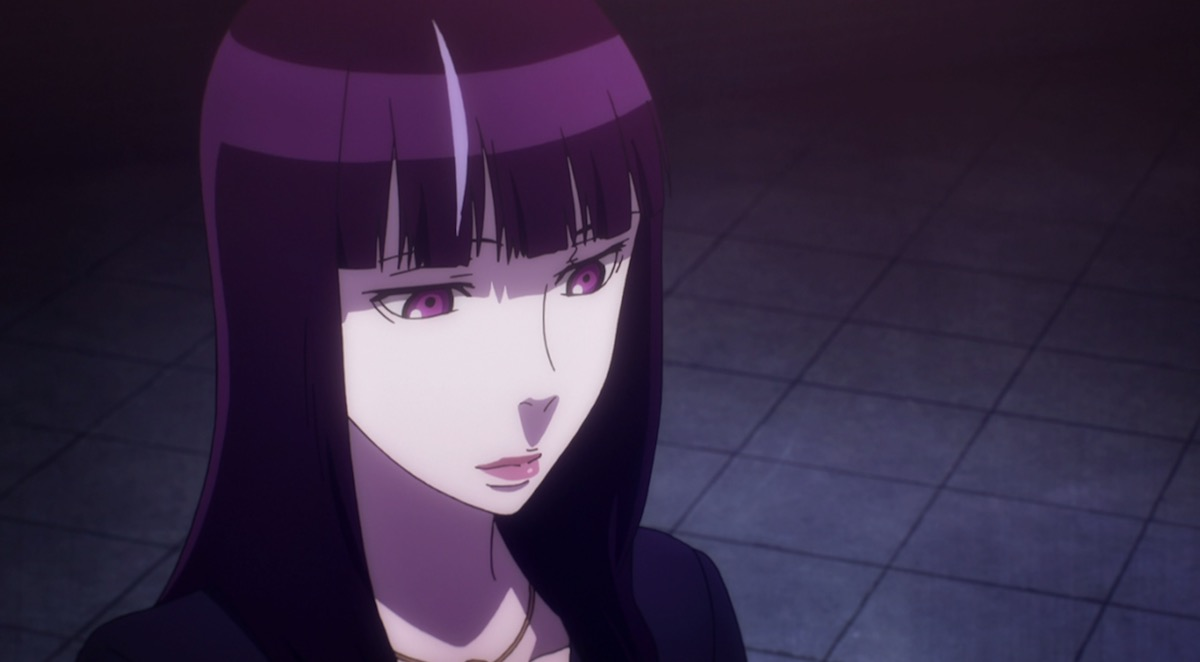 A young anime woman with long dark hair looking down and smiling slightly.