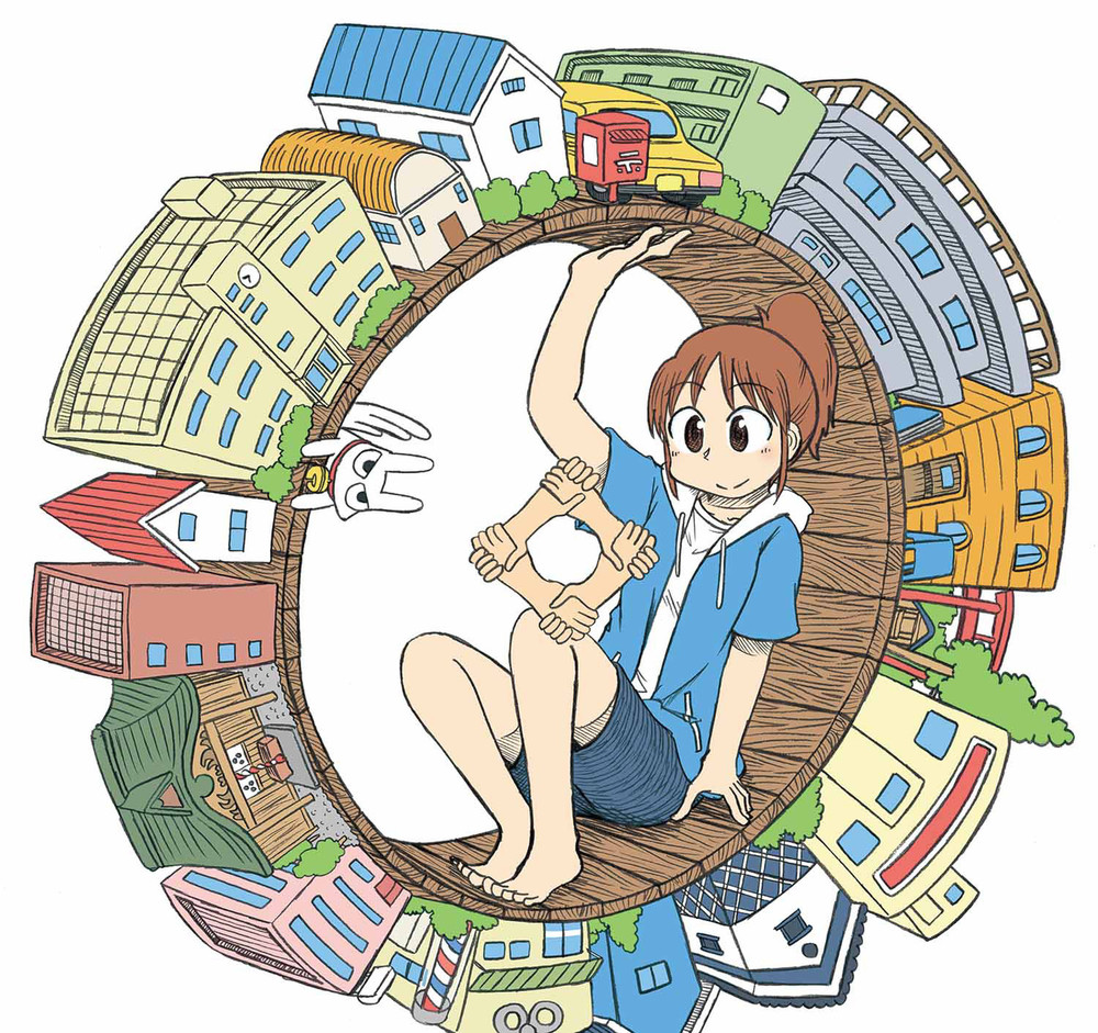 Young woman in manga artwork sitting inside a wooden wheel with city buildings on its outer edge