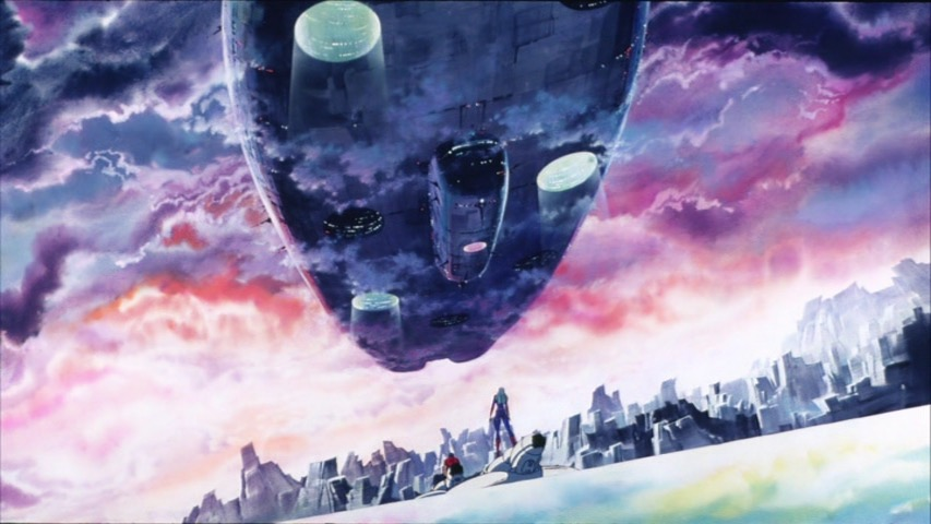 Cobra and Jane staring up at a huge prison ship floating above the planet