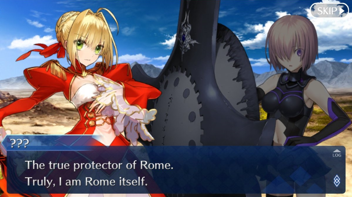 "Screenshot of a dialogue scene between two Fate/Grand Order characters. One unidentified character says ""The true protector of Rome. Truly, I am Rome itself."""