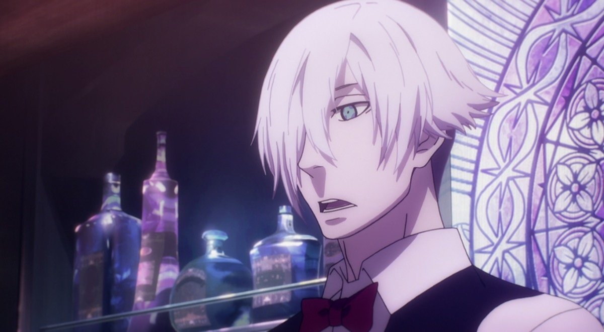 An anime man with white hair and blue eyes looking down and speaking.