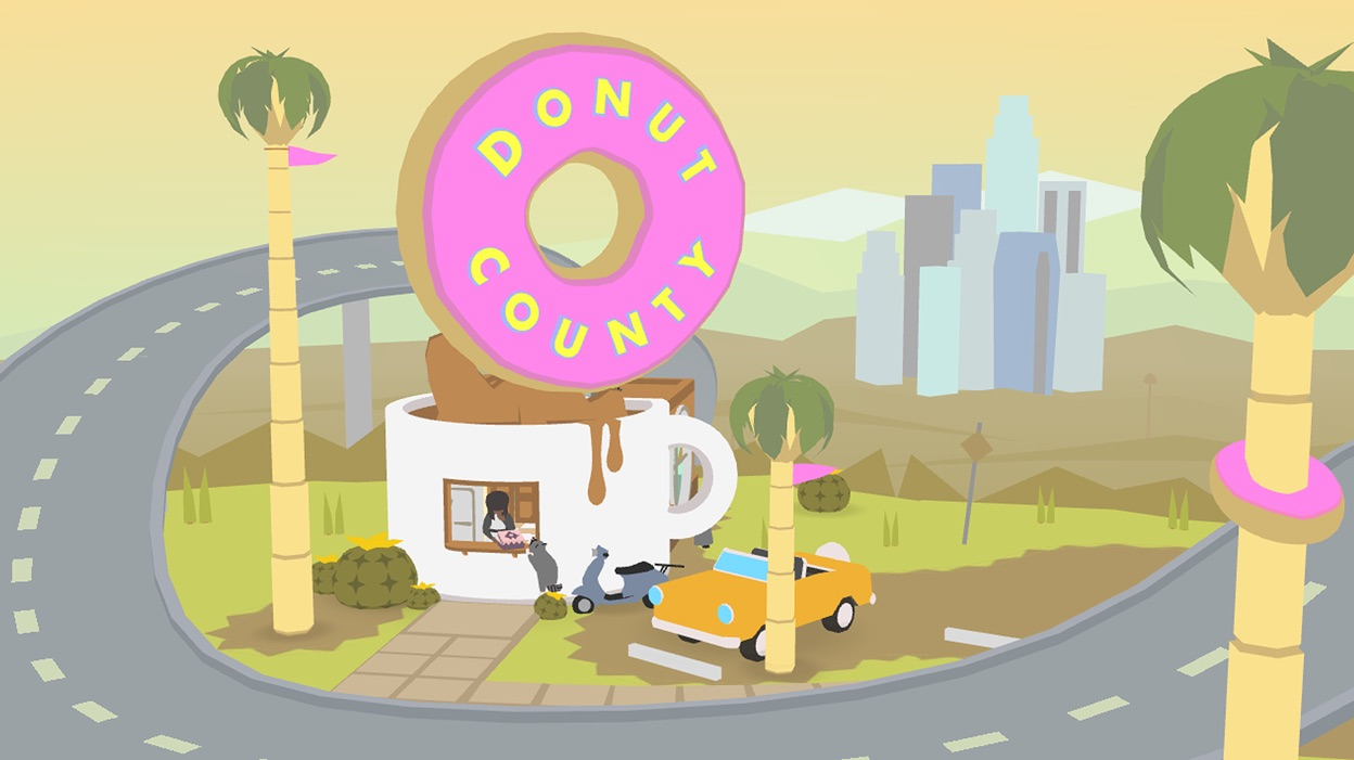 "Flat colored scene of a donut shop shaped like a mug with giant donut on top. The donut has text that says ""Donut County"""