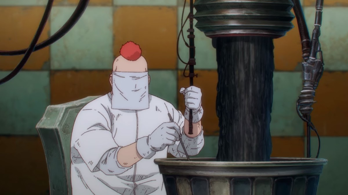 A doctor with a mohawk stirring something in a big pot from Dorohedoro.