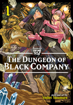 Cover of The Dungeon of Black Company Volume 1, with a grinning hero and a monster girl clinging to his back.