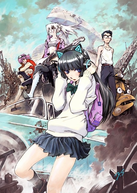 Key art for FLCL Progressive drawn by Yoshiyuki Sadamoto, featuring the main cast