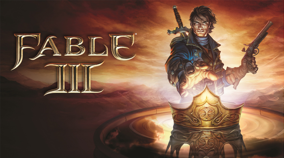 The hero of Fable III reaching out to a crown while holding a gun.