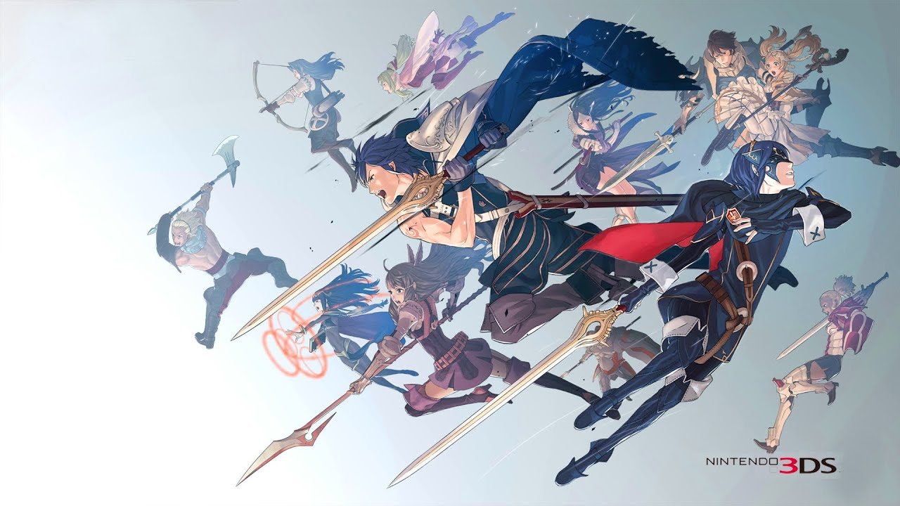 The cast of Fire Emblem Awakening with their weapons drawn.
