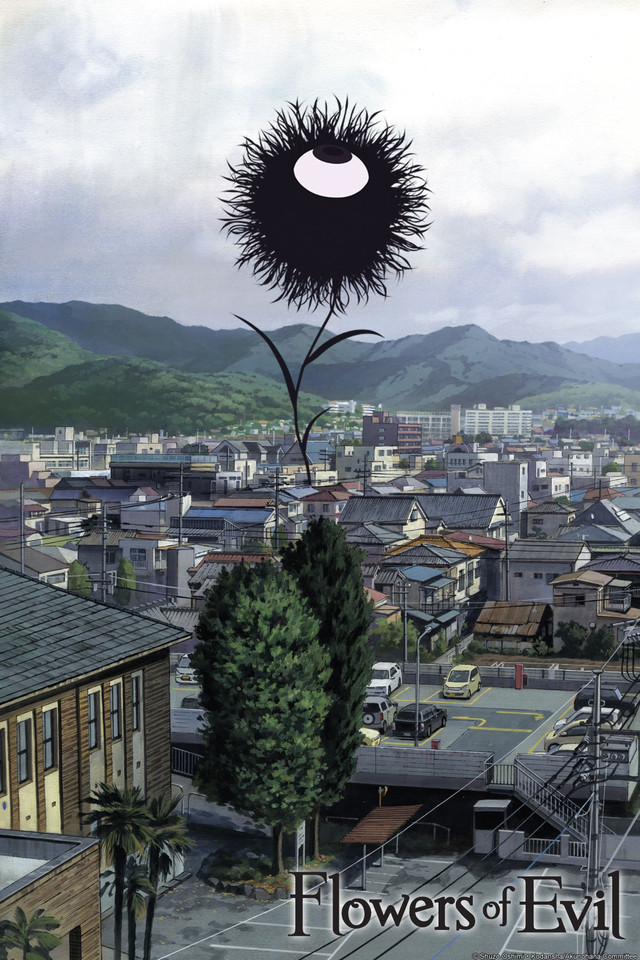 Cover of Flowers of Evil, featuring a giant black flower with an eye facing up.