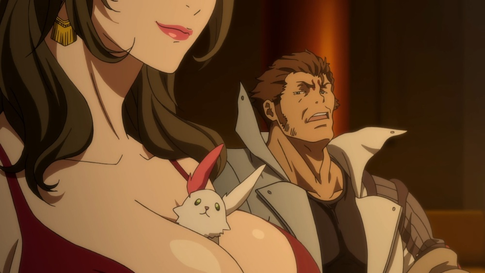 A gruff anime man with slicked back hair looking disapprovingly at a small white creature sticking out of a woman's cleavage