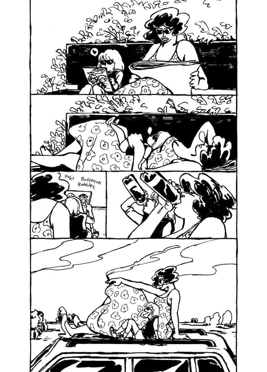 Manga page. A young girl and an adult woman spend time together reading, sleeping, drinking soda, and sitting on top of a car.