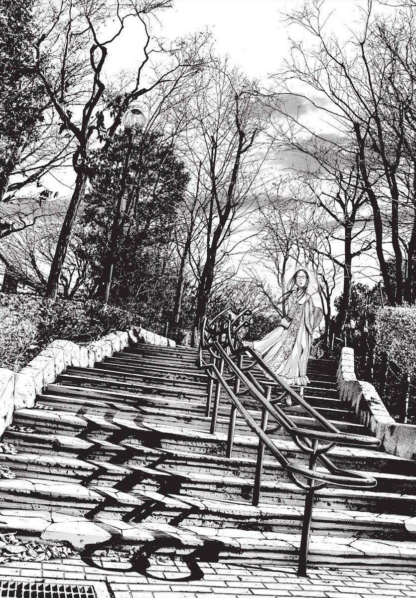 A woman walking down an intricately rendered staircase in a park in the winter