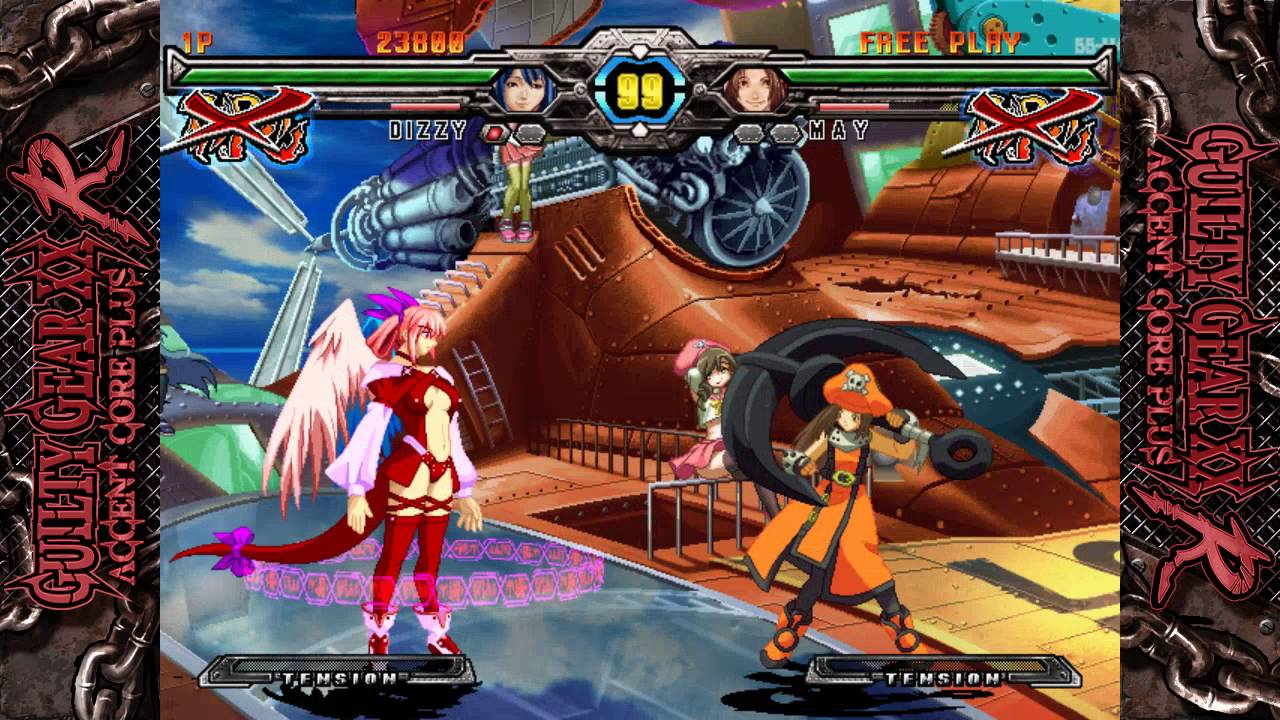 Sol and Ky facing off in Guilty Gear XX Accent Core + R.