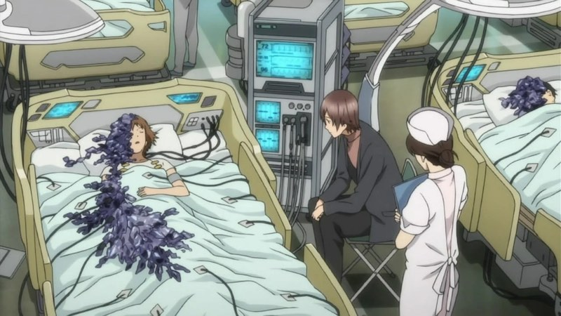 Scene from the anime Guilty Crown. A young woman on a hospital bed. Half of her body has turned into crystals.