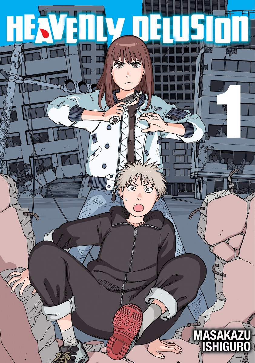 Cover of Heavenly Delusion volume 1. A girl holds a gun at the camera while a boy stumbles on the ground.