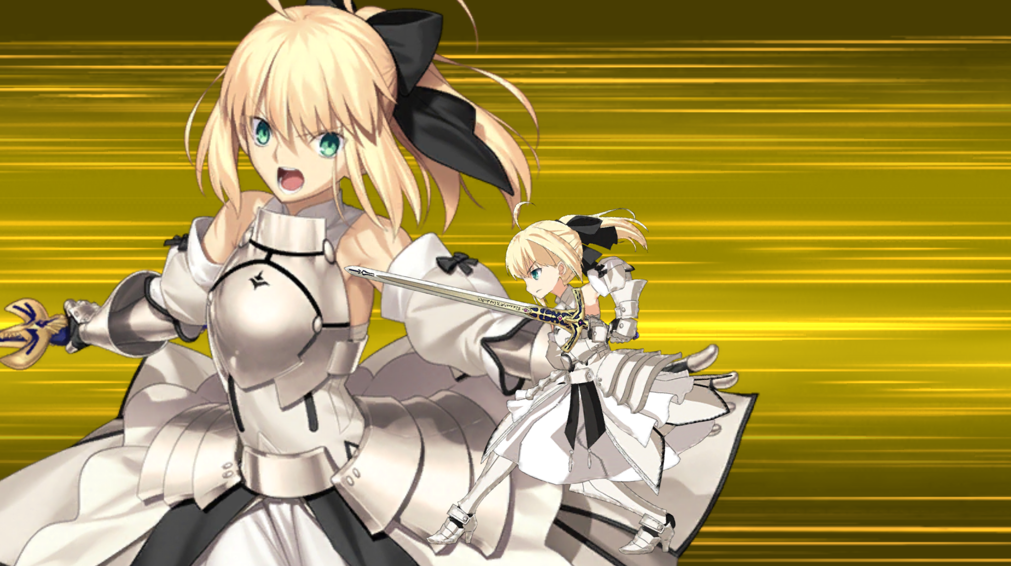 Screenshot of Fate character Saber attacking.