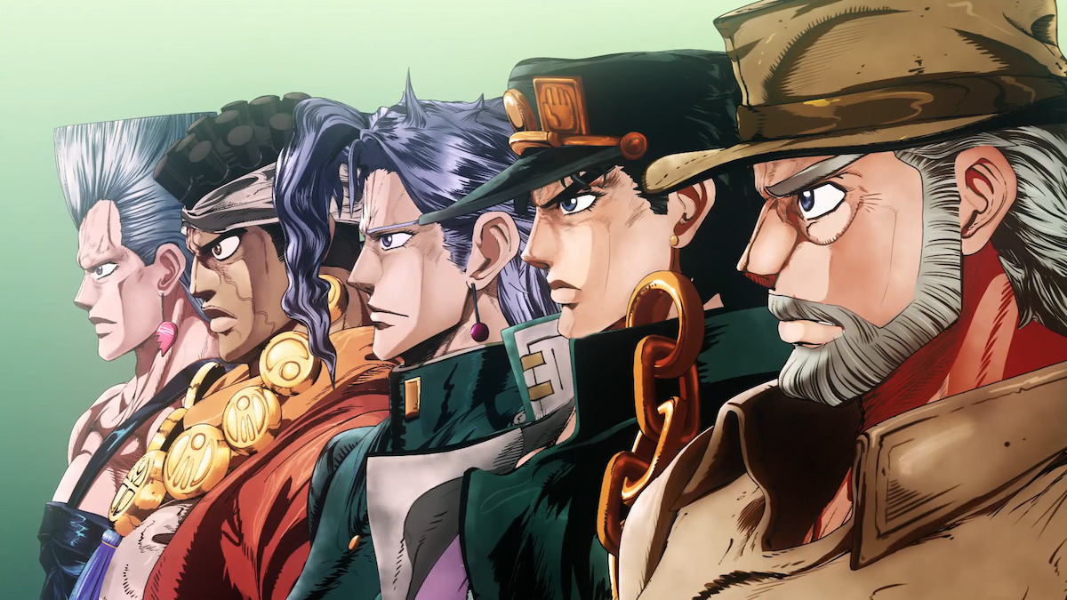 The cast of JoJo's Bizarre Adventure Part 3 animated in 3-D from the first opening.